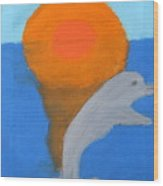 Dolphin At Sunset Wood Print