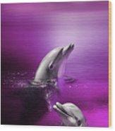 Dolphin Delights Wood Print by Julie L Hoddinott