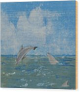 Dolphin Frolic Wood Print