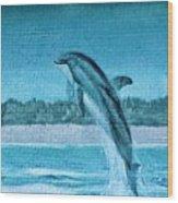 Dolphin Mural Wood Print