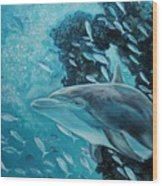 Dolphin With Small Fish Wood Print