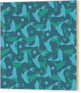 Dolphins In Blue  Wood Print