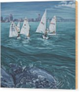 Dolphins In Corpus Christi Bay Wood Print