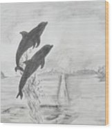 Dolphins Of The Sea Wood Print