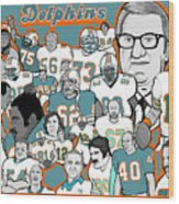 Dolphins Ring Of Honor Wood Print by Gary Niles