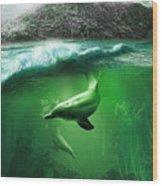 Dolphins Wood Print by Svetlana Sewell
