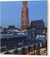 Dom Tower In Utrecht At Dusk 24 Wood Print