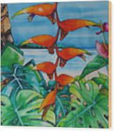 Dominican Heliconia Wood Print