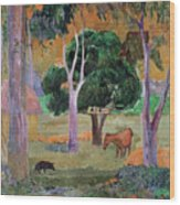 Dominican Landscape Wood Print by Paul Gauguin