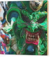 Dominican Republic Carnival Parade Green Devil Mask Wood Print