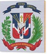 Dominican Republic Coat Of Arms Wood Print