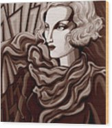 Dominique In Sepia Tone Wood Print
