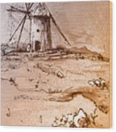 Don Quijote Windmills 06 Wood Print