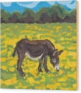 Donkey And Buttercup Field Wood Print