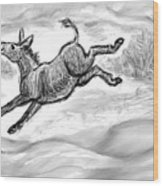 Donkey Frolicking In The Snow Wood Print