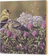 Don't Bug Us - Goldfinches Monarch Butterfly Wood Print