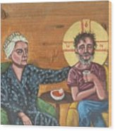 Don't Call Me a Saint- Dorothy day with Homeless Christ Wood Print
