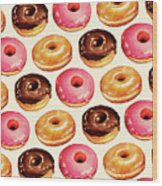 Donut Pattern Wood Print