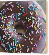 Donut With Sprinkles Wood Print by Kim Fearheiley
