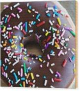 Donut With Sprinkles Wood Print