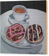 Donuts And Coffee- Donas Y Cafe Wood Print
