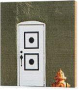 Door And Orange Hydrant  Wood Print