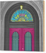 Door Fushia Wood Print