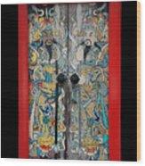 Door Gods With Red Door Frame Wood Print