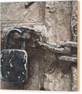 Door Lock And Chain Wood Print