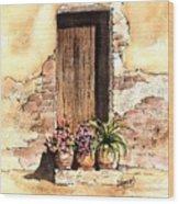 Door With Flowers Wood Print