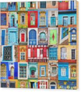 Doors And Windows Of The World - Vertical Wood Print