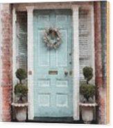 Doors Of Boston Blue Wood Print