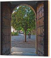 Doorway And Arch Between Gardens Wood Print