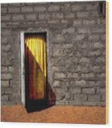 Doorway To A Yellow Curtain Wood Print