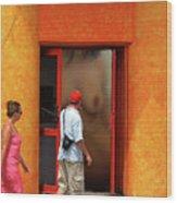 Doorway Undressing Wood Print by Harry Spitz