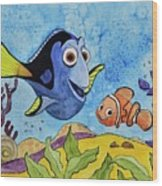 Dori And Nemo Wood Print