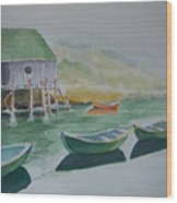 Dories In Waiting Wood Print