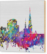 Dortmund Skyline-colorful Wood Print
