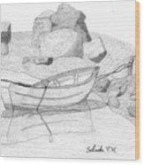 Dory In The Cove Wood Print