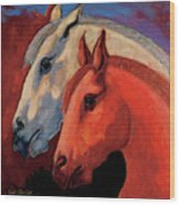 Dos Equus Wood Print by Bob Coonts