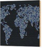 Dot Map Of The World - Blue Wood Print by Michael Tompsett