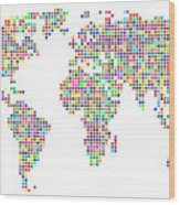 Dot Map Of The World - Colour On White Wood Print