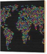 Dot Map Of The World - Multi Colours Wood Print