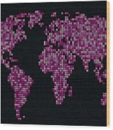 Dot Map Of The World - Pink Wood Print