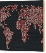 Dot Map Of The World - Red Wood Print
