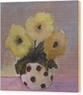 Dotted Vase With Yellow Flowers Wood Print