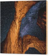 Double Arch And The Milky Way - Utah Wood Print