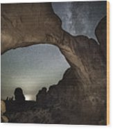 Double Arch Beneath The Stars Wood Print