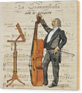 Double Bass Player Wood Print
