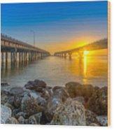 Double Bridge Sunrise - Tampa, Florida Wood Print